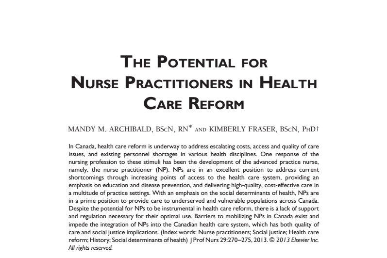The Potential for Nurse Practitioners in Health Care Reform